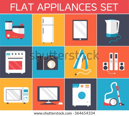 Flat modern kitchen appliances set icons concept. Vector illustration design. Template for website and mobile appliance - stock vector
