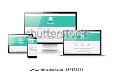 Flat modern responsive web design in electronic devices - stock vector