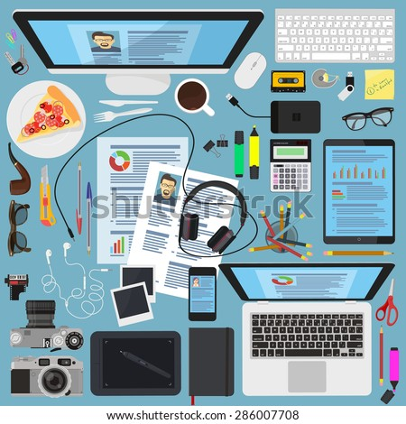 Flat modern vector design element set to create an images of office creative workspace.