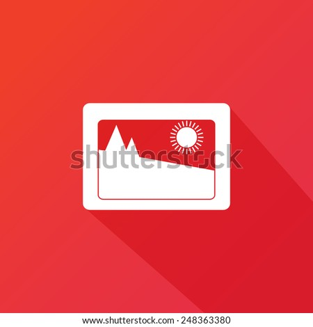 Flat modern vector icon: picture. Long shadow - stock vector