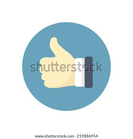 Flat modern vector icon: thumb up. - stock vector
