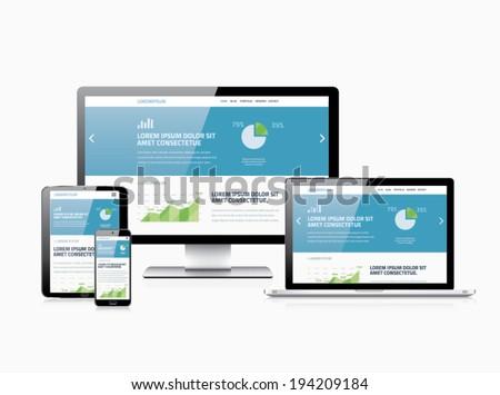 Flat modern website analytics search engine optimization and responsive web design vector illustration concept. - stock vector