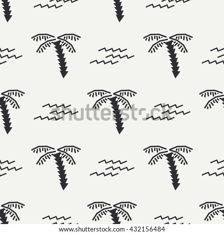 Flat monochrome vector seamless summer pattern. Wrapping paper summer pattern. Cute doodle summer pattern with palm tree and waves. Vector illustration and element for your design. Background. Summer. - stock vector
