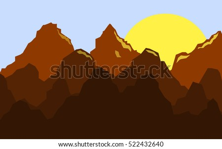 Flat mountain silhouette landscape with rising sun. Vector background.