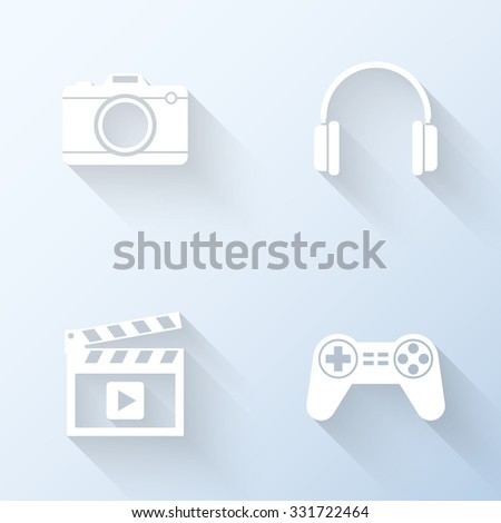 Flat multimedia icons with long shadows. Vector illustration - stock vector
