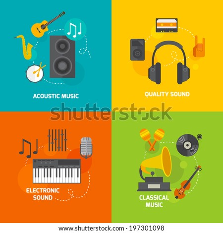 Flat music compositions - stock vector
