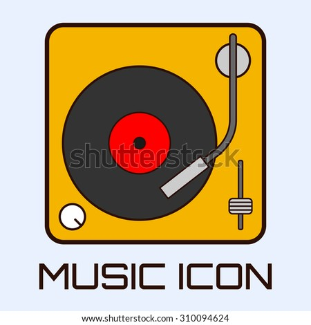 Flat musical icon of vinyl deck. Vector graphics. - stock vector