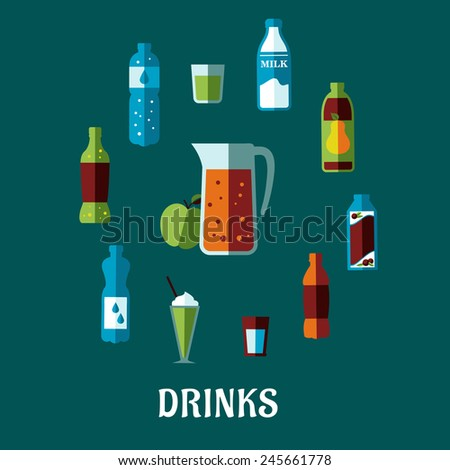 Flat non alcoholic drinks concept with pitcher and fresh apple encircled bottles of mineral water, milk, juice, cola, lemonade and glasses with cocktails - stock vector
