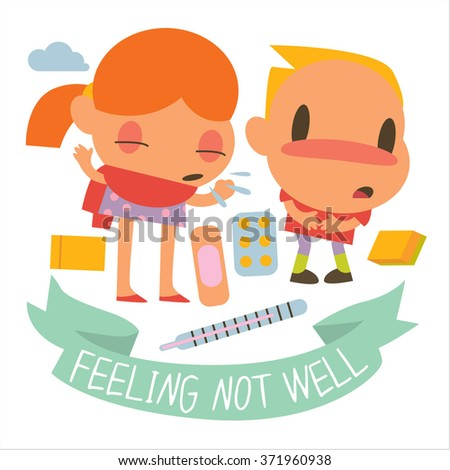 Flat of human disease kids. Funny cute personages suitable for apps illustrations, card, sticker, banner, package designs. Colorful logos or icons around. - stock vector
