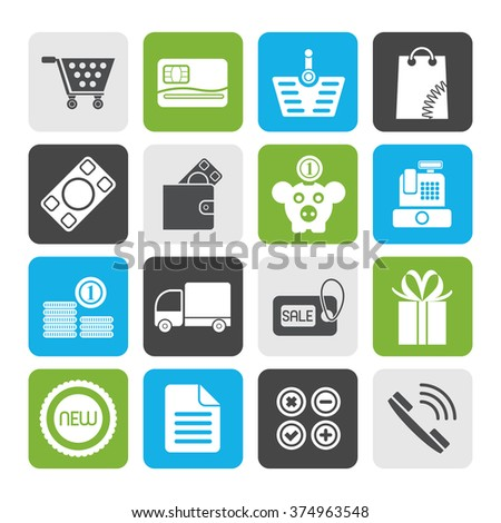 Flat Online shop icons - vector icon set