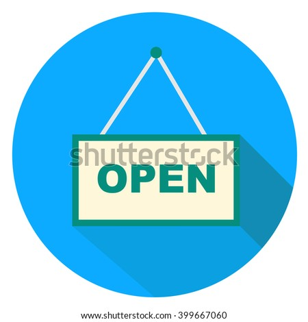 flat open sign on blue background