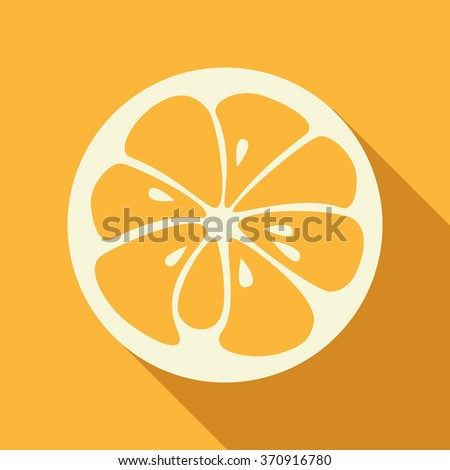 Flat orange logo with long shadow. Logotype for citrus company. Refreshing yummy tropical summer fruit. Cocktail ingredient. Vector design illustration - stock vector