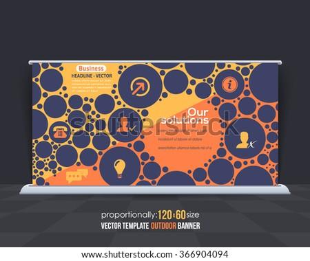 Flat Outdoor Banner or Horizontal Website Banner Design, Advertising Vector Template - stock vector