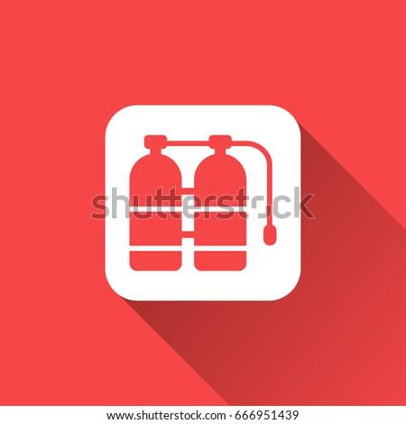 Flat Oxygen Tank Icon Stock Vector 666951439 Shutterstock