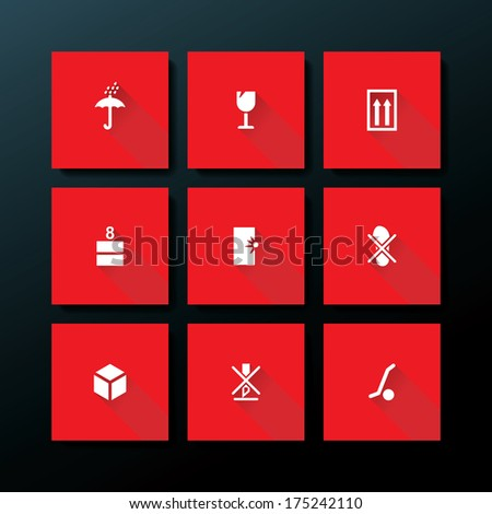 Flat packaging icon set - vector illustration - stock vector