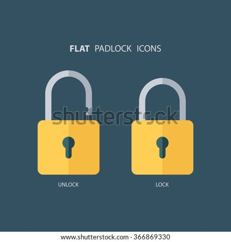 Flat padlock icons. Lock and unlock. Concept password, blocking, security. Lock symbol. Lock vector icon. Vector illustration. - stock vector