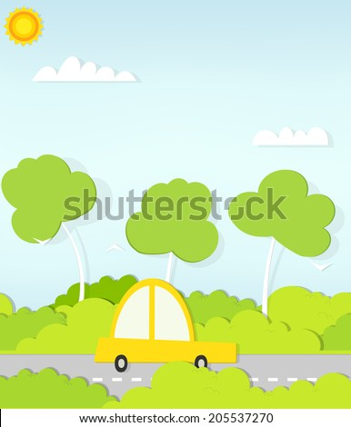 flat paper car on road - stock vector