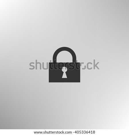 Flat paper cut style icon of a lock. Vector illustration