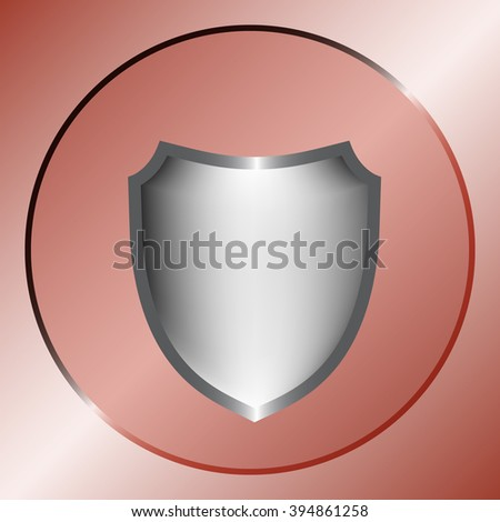 Flat paper cut style icon of a shield. Vector illustration