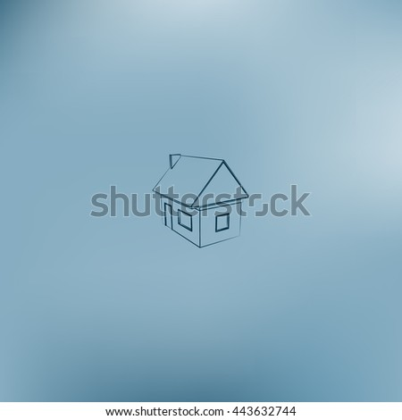 Flat paper cut style icon of house model vector illustration - stock vector