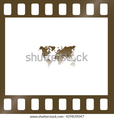Flat paper cut style icon of World Map. Vector illustration