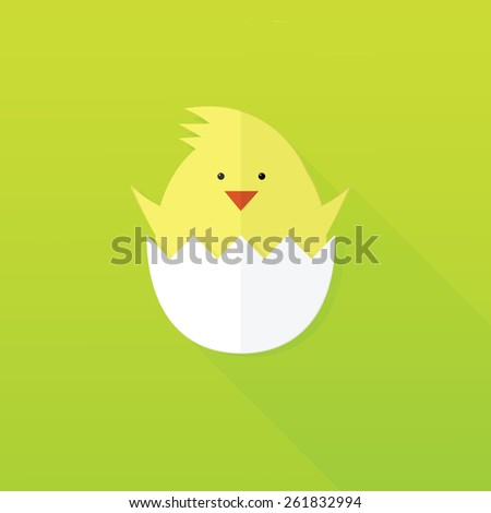 flat paper Easter chick - stock vector