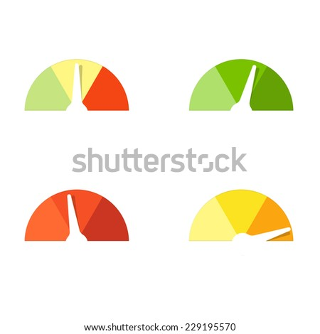 flat paper speedometer - stock vector