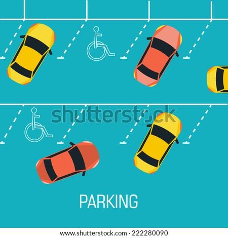 Flat parking a car background concept. Vector illustration design - stock vector