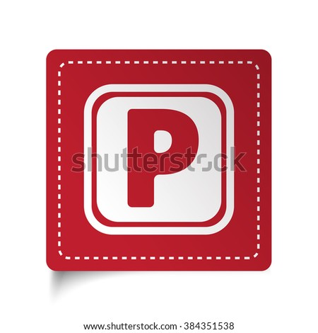 Flat Parking icon on red sticker