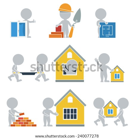 Flat people. Collection of flat icons - Construction. Vector illustration. - stock vector