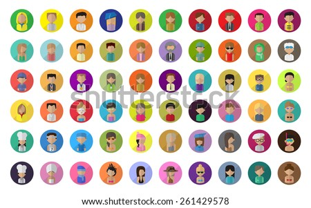Flat People Icons, Different Occupation: Doctor, Artist, Champion, Sportsman, Athlete, Astronaut, Waiter, Barman, Diver, Graduates - Isolated On White Background - Vector Illustration, Graphic Design - stock vector