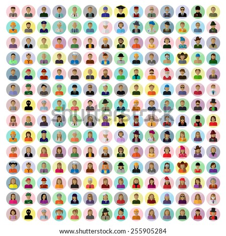 Flat People Icons, Different Occupation: Waiter, Police, Miner, Firefighter, Surgeon, Clown, Judge, Barman, Sailor, Hipster, Worker, Wizard, Athlete, Skater- Isolated On White - Vector, Graphic Design - stock vector