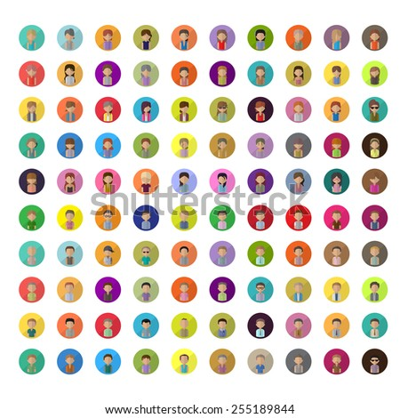 Flat People Icons - Isolated On Background - Vector Illustration, Graphic Design Editable For Your Design - stock vector