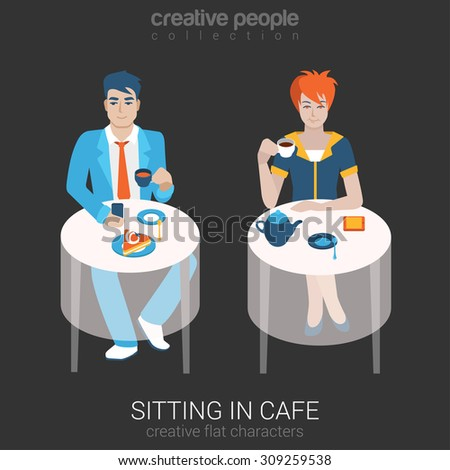Flat people relax leisure lifestyle situation in cafe restaurant concept. Set of young beautiful man woman sitting table drinking tea coffee alone. Young creative human vector illustration collection. - stock vector