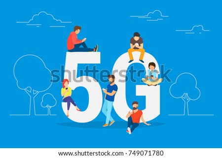 Flat people with gadgets sitting on the big 5G symbol. Addicted to networks people concept illustration of young men and women using high speed wireless connection 5G via mobile smartphone.