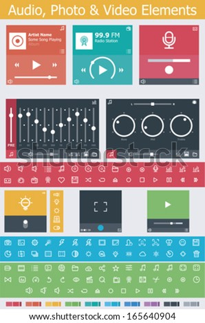 Flat photo, video and audio app UI elements - stock vector