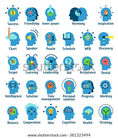 Flat pictogram icons set of human brain working, feelings and emotions.  - stock vector