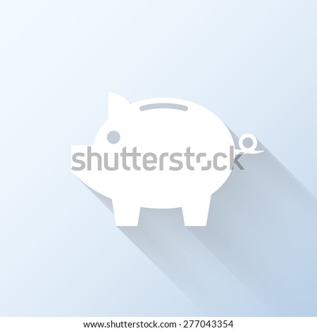 Flat piggy bank icon with long shadow. Vector illustration - stock vector