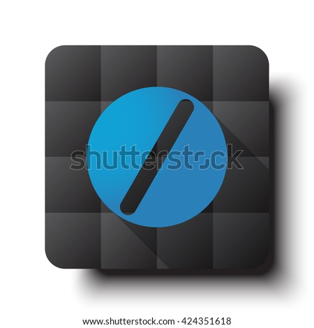 Flat Pill icon on black app button with drop shadow - stock vector
