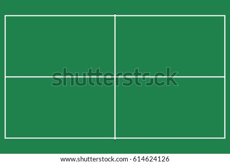 Lovely Flat Pin Pong Table. Top View Of Field With Line Template Vector.