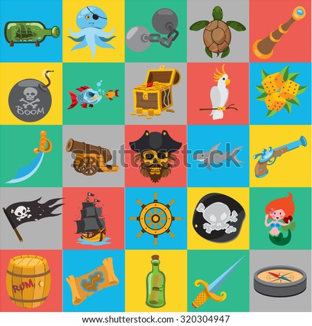 Flat pirate icons, pirate history