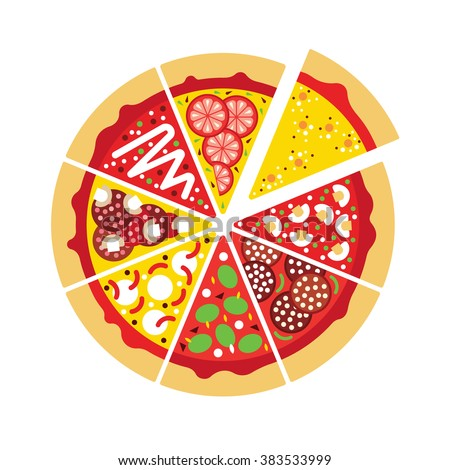 Flat Pizza Logo Vector Pizza Slices Stock Vector 383533999