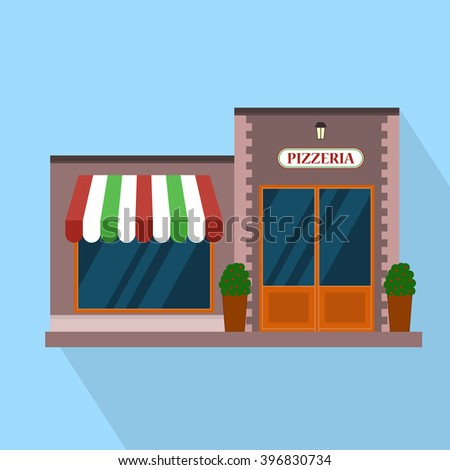 Flat pizzeria restaurant building block infographic concept. Street corner fast food pizza dinner.