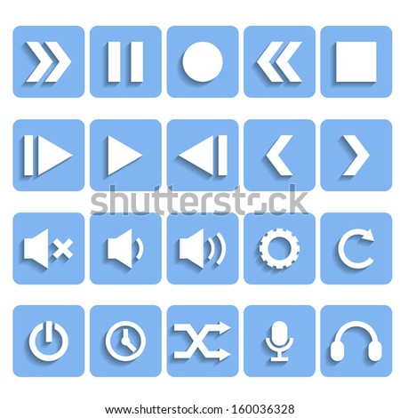 Flat Player Icons with Shadow - stock vector