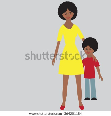 Flat portrait of happy family with mother and child.   Young afro american mom with little kid together. Woman and son. Illustration of single unmarried mother vector - stock vector