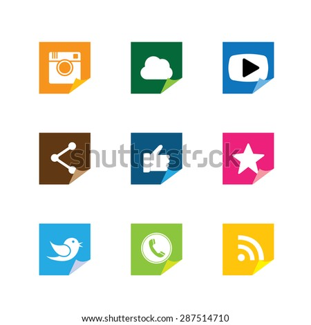 flat post-it sticker paper button designs of camera, like, messenger bird, phone receiver, share - social network vector icons. This also represents rss, cloud computing, playing video - stock vector