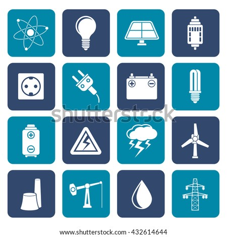 Flat Power and electricity industry icons - vector icon set - stock vector