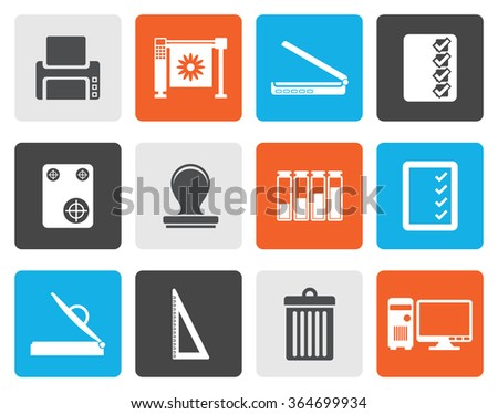 Flat Print industry Icons - Vector icon set - stock vector