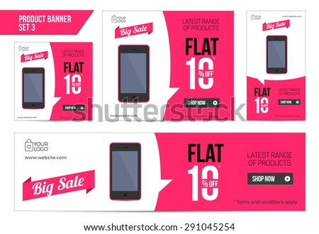 Flat Product Sale Mobile banner 10 off - stock vector