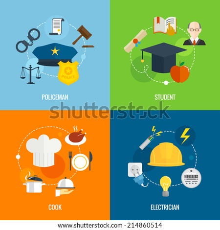 Flat profession composition set with policeman student cook electrician isolated vector illustration - stock vector